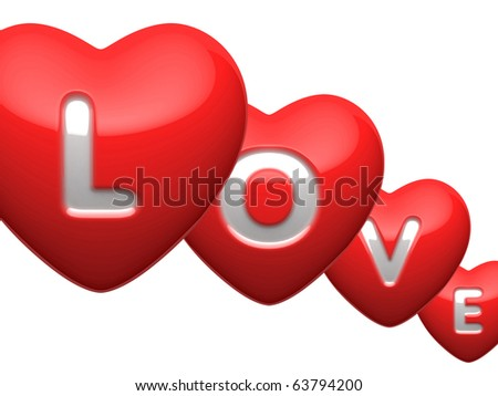 "Word ""Love"" from hearts letters"