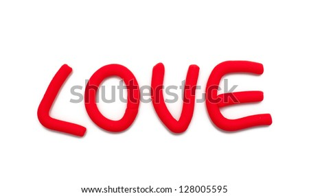 Word LOVE made from plasticine - stock photo