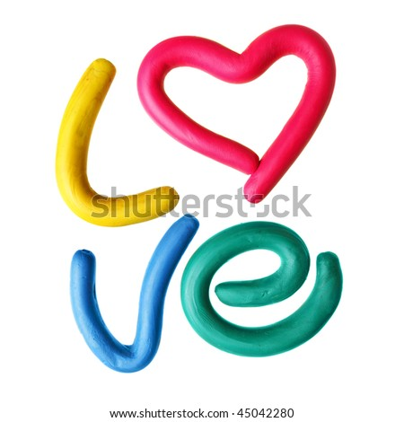 Word LOVE made from plasticine isolated over white background - stock photo