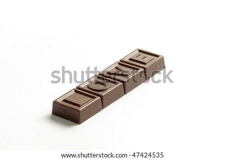Word Love made of little chocolates