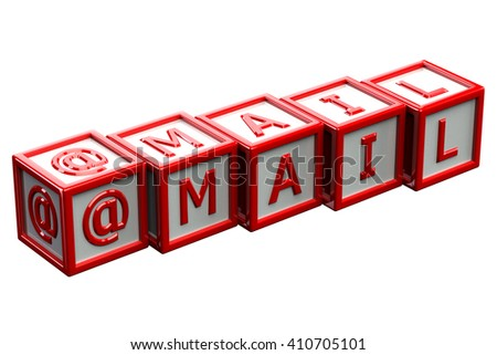 Word mail written white letter on red blocks, isolated on white background. 3D rendering. - stock photo