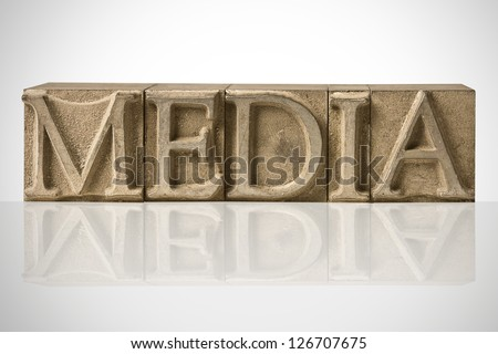 Word MEDIA Composed Of Guttenberg Original Metal Letters - stock photo