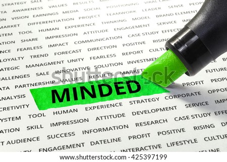 Word MINDED highlighted with marker on paper of other related words.business success concept. - stock photo