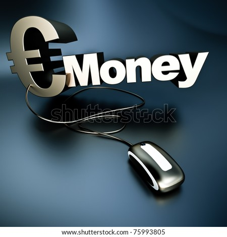 Word money with an euro symbol in metallic texture connected to a computer mouse - stock photo