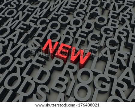 Word New in red, salient among other keywords concept in grey. 3d render illustration.