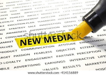 Word New media highlighted with marker on paper of other related words. For direction of business marketing concept - stock photo