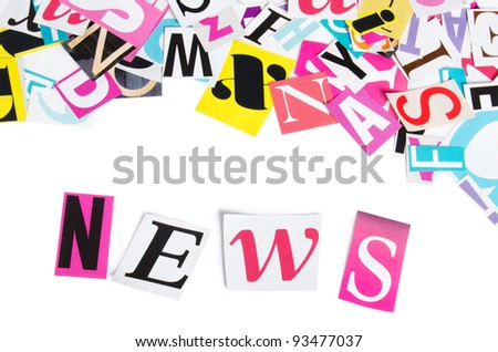 Word NEWS from newspaper letters isolated on white