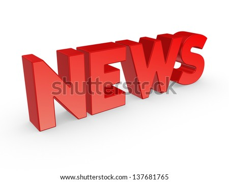 Word NEWS.Isolated on white background.3d rendered. - stock photo