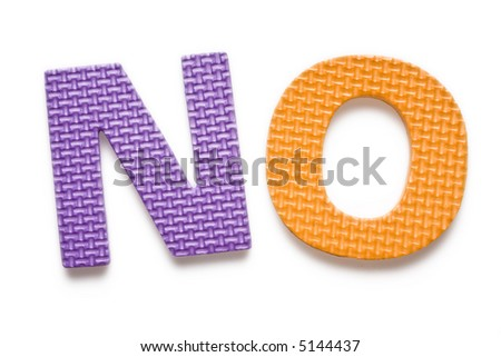Word NO isolated on the white background - stock photo