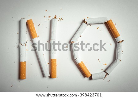 word NO made of cigarette butts. studio shot - stock photo