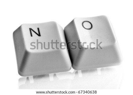 "Word ""No"" made with computer keyboard keys - stock photo"