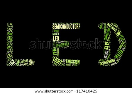 Word of collage in a shape of LED word - stock photo