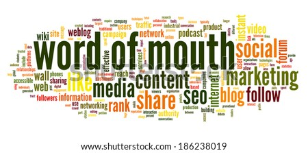 Word of mouth in social media in word tag cloud on white background - stock photo