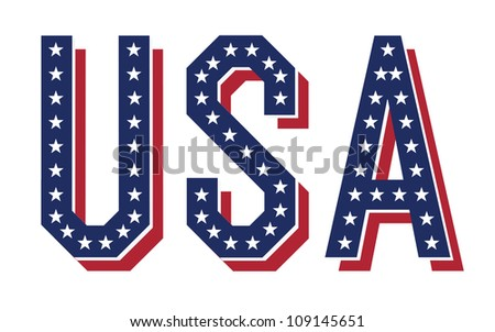 Word of USA. Raster version, vector file available in portfolio - stock photo