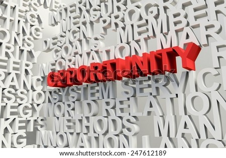 Word Opportunity in red, salient among other related keywords concept in white. 3d render illustration. - stock photo