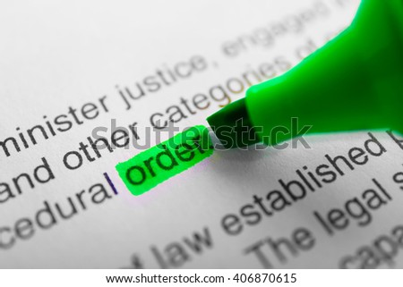 Word Order highlighted with a green marker - stock photo