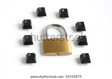 word password written with keyboard keys around locked padlock isolated on white background - stock photo