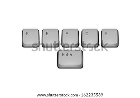 Word Peace on keyboard and enter key.