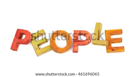 Word People made of colored with paint wooden letters, composition isolated over the white background