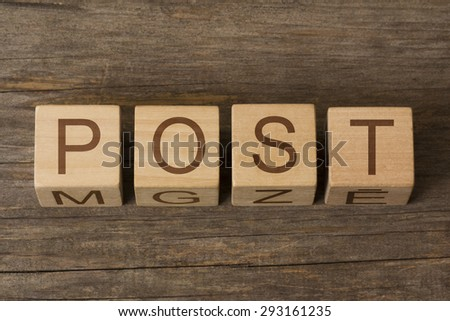 word post on wooden cubes - stock photo