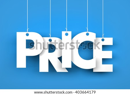 Word PRICE hanging on the ropes. 3d illustration - stock photo