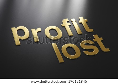 word profit and lost on the gray background