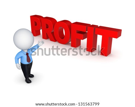 Word PROFIT.Isolated on white background.3d rendered. - stock photo