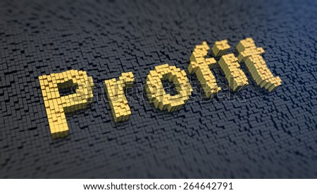Word 'Profit' of the yellow square pixels on a black matrix background. Succes money concept. - stock photo
