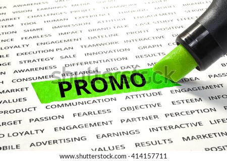 Word Promo highlighted with marker on paper of other related words. For direction of business marketing concept - stock photo
