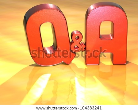 Word Q&A on yellow background (high resolution 3D image) - stock photo