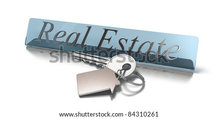 Word real estate and key with keyring with shaped house white background