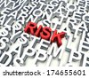 Word Risk in red, salient among other related keywords in white. 3d render illustration. - stock