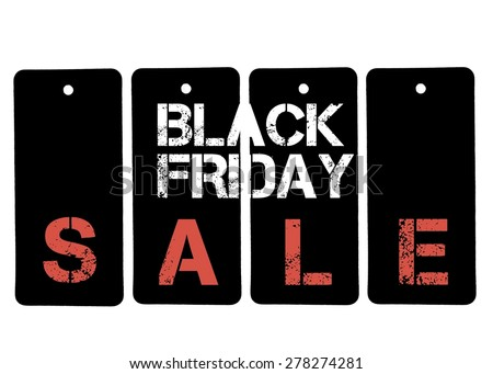 Word SALE formed of Black Friday price tags  isolated on white background with copy space available - stock photo
