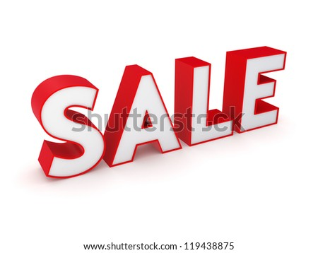 Word SALE.Isolated on white background.3d rendered. - stock photo