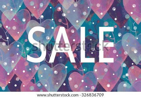 word sale on a floral watercolor background. fashion illustration