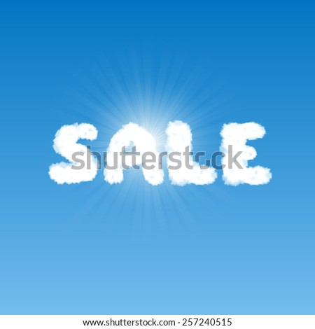 Word Sale shape clouds in blue sky with bright sun behind it. Raster version - stock photo