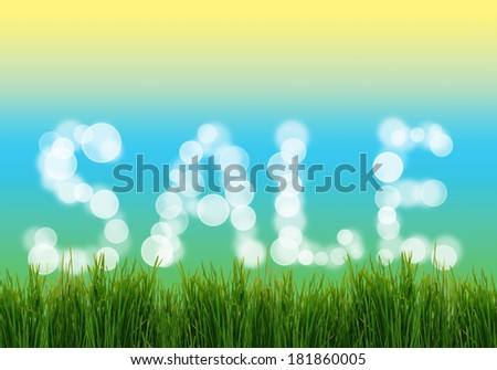 Word Sale with fresh grass - stock photo