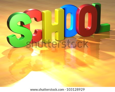 Word School on yellow background (high resolution 3D image)