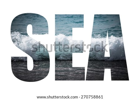 Word SEA over crystal water on beach near Paphos. Mediterranean coast. Cyprus. Toned. - stock photo