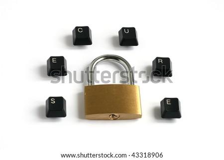 word secure written with keyboard keys around locked padlock isolated on white background - stock photo
