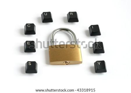 word security written with keyboard keys around locked padlock isolated on white background - stock photo