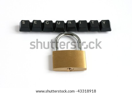 word security written with keyboard keys with locked padlock isolated on white background - stock photo