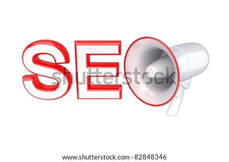 Word SEO and megaphone. 3d rendered. Isolated on white background. - stock photo