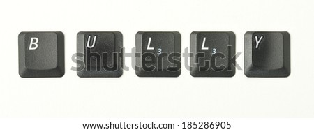 Word series from real keyboard keys depicting typical terms of reference connected to internet and IT topics. Shot overhead with soft shadows against a white background.