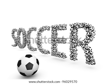 Word soccer formed with soccer balls - stock photo