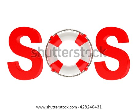 Word SOS with lifebuoy isolated on white background. 3d illustration - stock photo