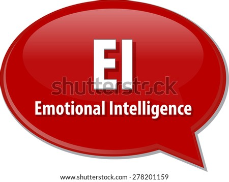 word speech bubble illustration of business acronym term EI emotional intelligence - stock photo