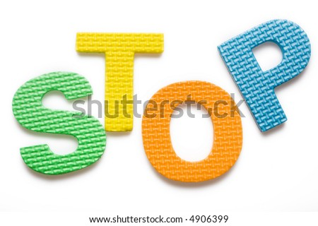 Word STOP isolated on the white background - stock photo