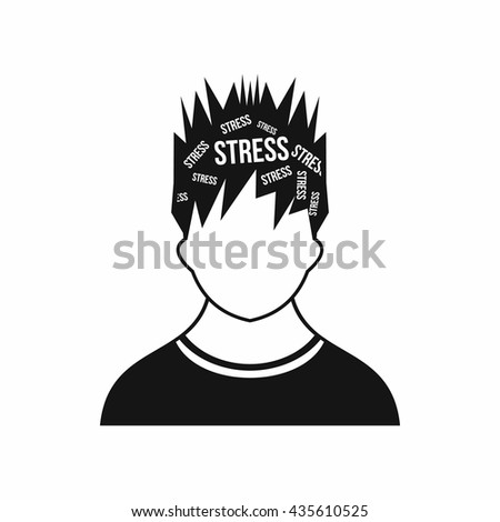 Word stress in the head of man icon, simple style - stock photo
