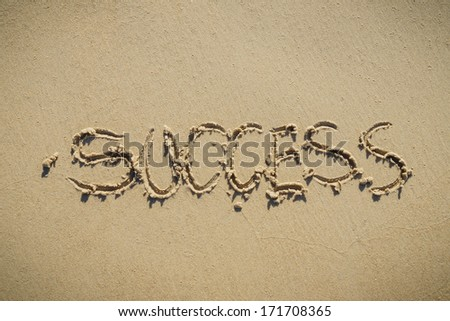 Word Success on sand beach - success concept background - stock photo